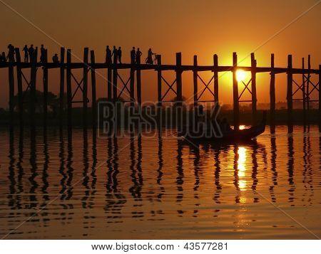 Sunset on U Bein bridge, Myanmar