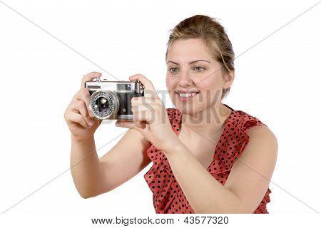 Retro Pretty Woman Photographer