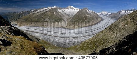 The Aletsch Glacier (aletschgletscher) - The Largest Glacier Of Europe In The Swiss Alps
