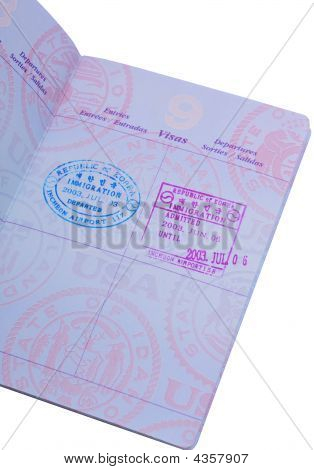 Visa Stamps On The Passport