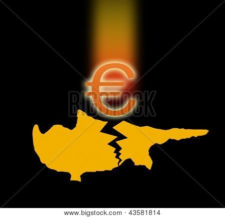 silhouette of Cyprus and the falling Euro sign.
