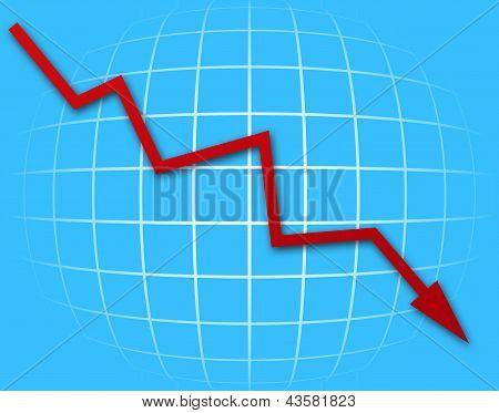 Gráfico de seta indo para baixo