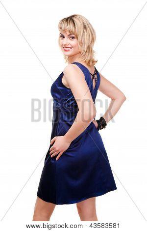 smiling model in blue dress