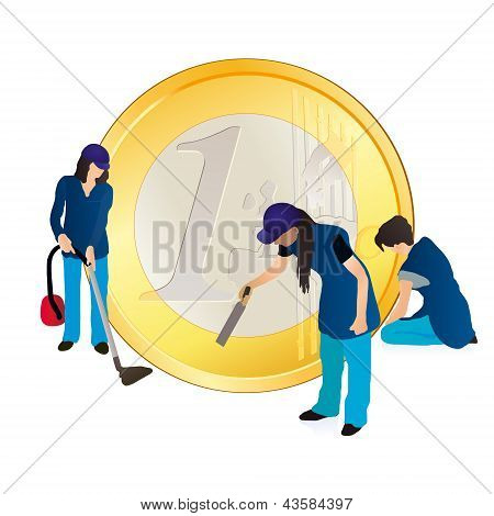 Three Women Cleaners And Big Euro Coin.eps