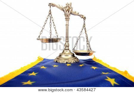 Scales Of Justice And Flag Of European Union