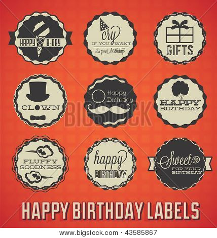 Vintage Happy Birthday Labels