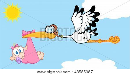 Stork Delivering A Newborn Baby Girl
