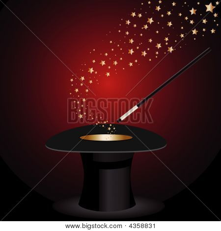 Top Hat Magic Wand With Stars