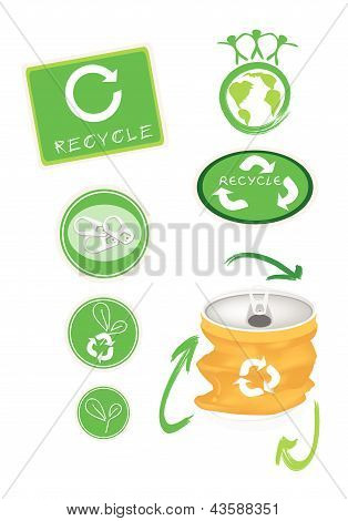 Yellow Aluminum Can With Recycle Symbol For Save The World