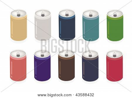 A Colorful Illustration Set Of Soda Can