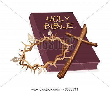 Santa Biblia con Cruz de madera y corona de espina