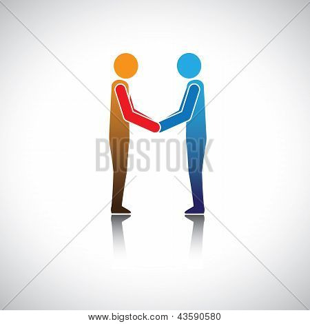 Corporate Executives, Businessmen Or Friends Greeting Hand Shake