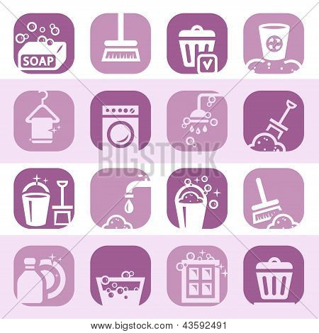 color cleaning icons set