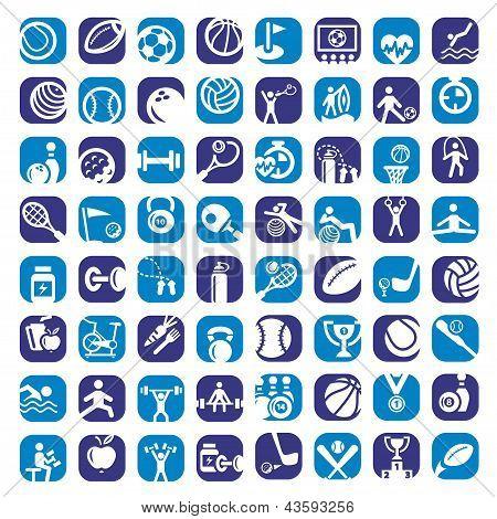 big color sports icons set