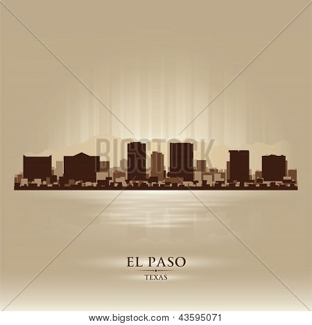 El Paso Texas City Skyline Silhouette