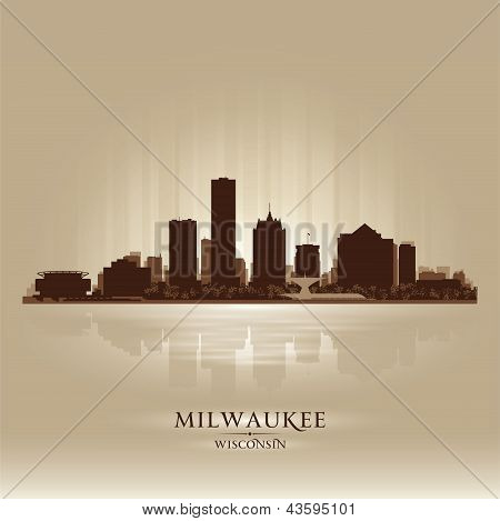 Milwaukee Wisconsin City Skyline Silhouette
