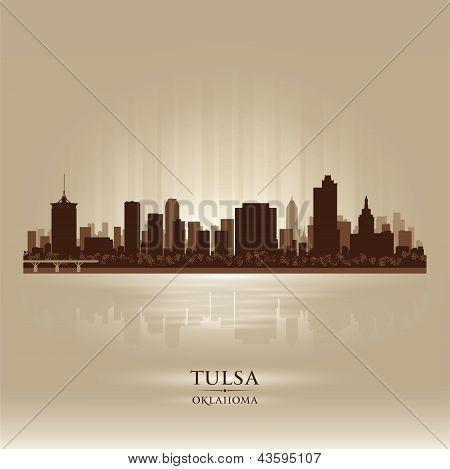 Tulsa Oklahoma City Skyline Silhouette