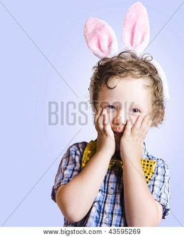 Surprised Easter Kid Looking Shocked