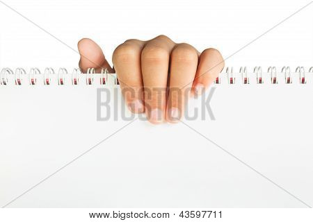 Hand holding paper isolated with clipping path