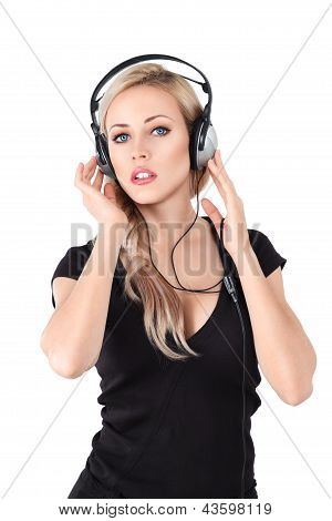 Young Blonde Woman With Headphones