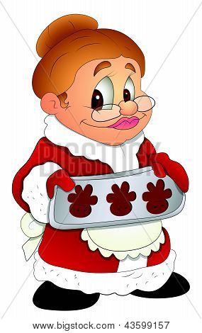 Christmas Granny Lady - Cartoon Character - Vector Illustration