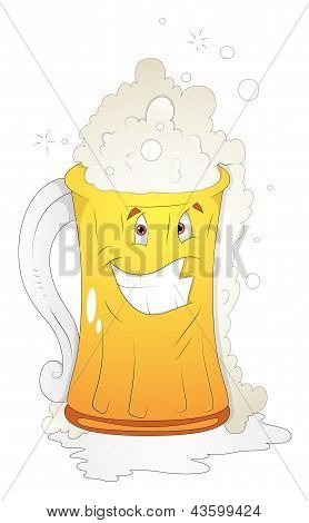 Beer Glass - Cartoon Character - Vector Illustration