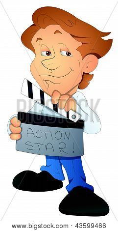 Movie Director - Cartoon Character - Vector Illustration