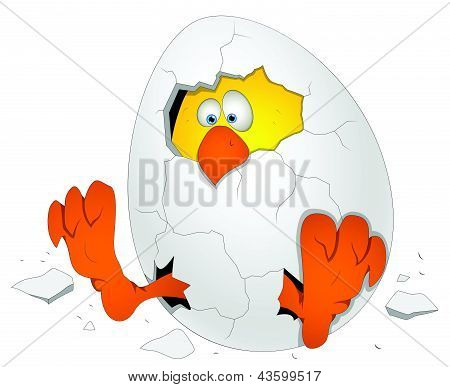 Easter Egg with Chicken - Cartoon Character - Vector Illustration
