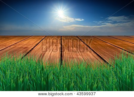 Wood Terrace With Green Grass Fore Ground Sun Blue Sky Background