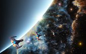 stock photo of starship  - This image shows a planet with stars and starships - JPG