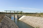 image of upstream  - Almost finished sluice gate in the water diversion canal upstream the Alvito reservoir near Oriola village part of the Alqueva Irrigation Plan Alentejo Portugal - JPG