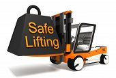 picture of weight lifter  - safe lifting sign weight on fork lifter on white background - JPG