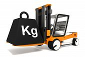 image of weight lifter  - fork lifter lifting black weight with kg word on white background - JPG