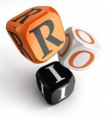 stock photo of dice  - return on investment orange black dice blocks on white background - JPG