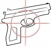 stock photo of crossed pistols  - hand gun outline with cross hair target on top  - JPG