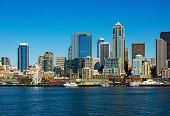 picture of washington skyline  - Seattle skyline and waterfront view Washington state - JPG