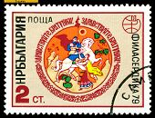 Vintage  Postage Stamp. Horseman Receiving Gifts.