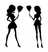 stock photo of maids  - Clip art illustration of a sexy house maid in silhouette holding a feather duster - JPG