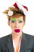 picture of freaky  - Freaky boy with flower in mouth isolated - JPG