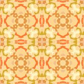 Orange kaleidoscope geometric abstract shapes seamless pattern, vector