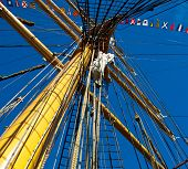 stock photo of yesteryear  - this is a mast in a replica of a Schooner or yesteryear - JPG