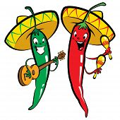 stock photo of chillies  - Red and green hot mexican chillies characters singing playing guitar and maraques - JPG