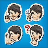 foto of manga  - Cartoon Handsome man expressing different emotion with hand signs - JPG