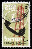 Retro Telephone And Logo  Of Mail Of Israel