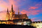 stock photo of bohemia  - Prague Castle at sunset - Czech republic