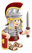 stock photo of legion  - Illustration of a cute happy Roman soldier holding a sword and a shield - JPG