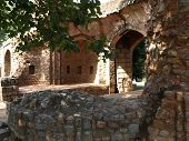 picture of tithe  - old rooten wooden dor on ruin of Hamayun tomb - JPG