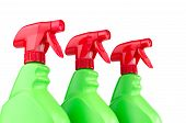 foto of trigger sprayer bottle  - Three red and green plastic spray bottle containers isolated on white background - JPG