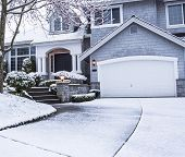 picture of roof-light  - photo of suburban home with snow on drive way lawn plants trees and roof - JPG