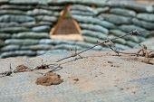 stock photo of sandbag  - Sandbags for flood protection - JPG